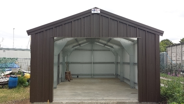 Metal boat storage sheds picture for Canoe storage shed